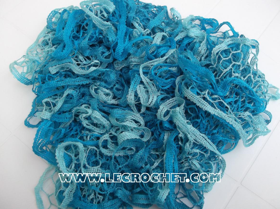 echarpe froufrou bleue turquoise