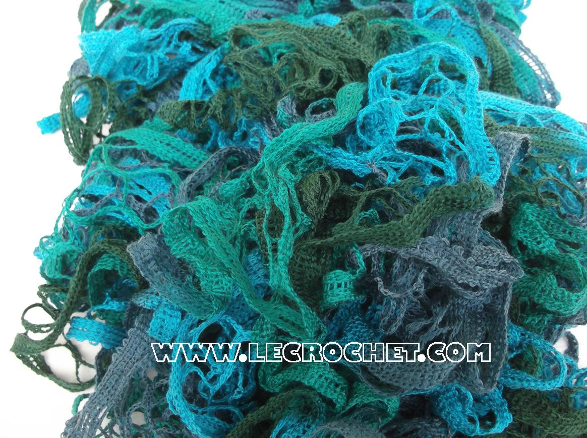 Echarpe froufrou chinée bleue-vert