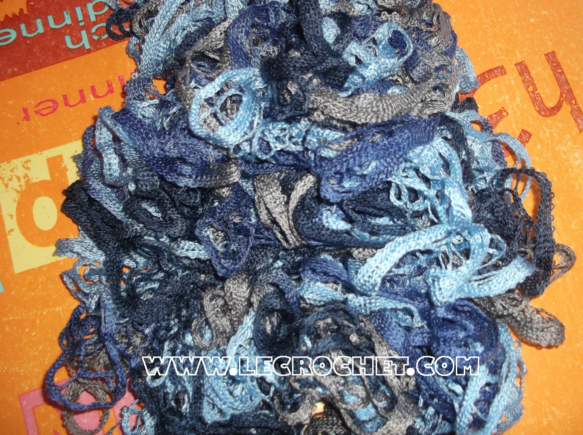 echarpe froufrou bleu-gris