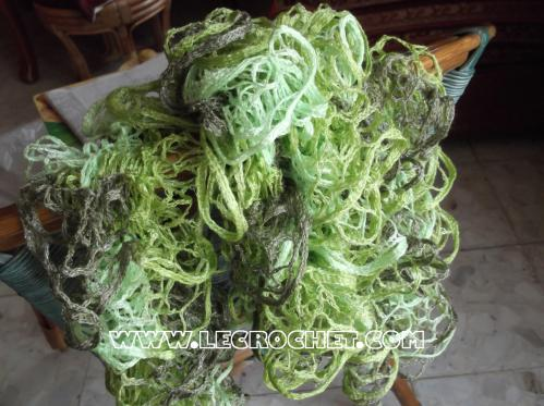 Echarpe froufrou chinée verte
