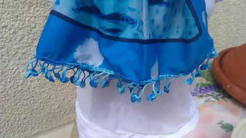 foulard bleu turquoise