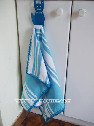 torchon de cuisine customisé avec une bordure au crochet