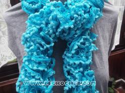 echarpe à pompons femme très tendance bleue turquoise