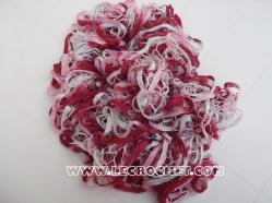echarpe à volant rose-fuschia-blanche