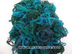 echarpe froufrou bleu- vert
