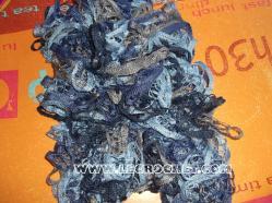 echarpe froufrou chinée bleue et grise
